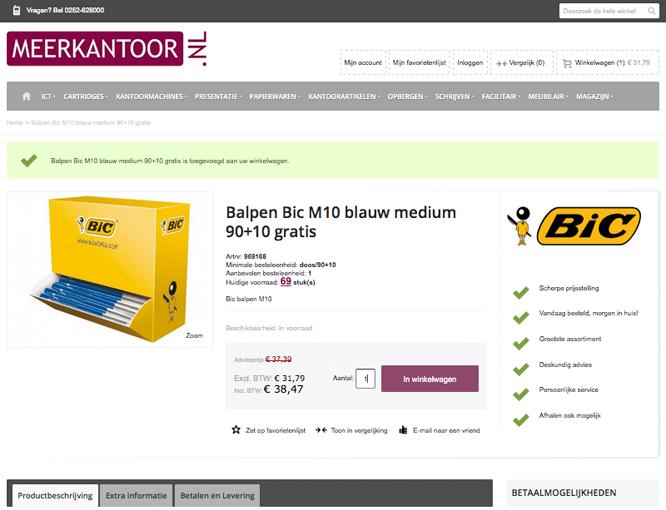 Magento webshop Meerkantoor productpagina