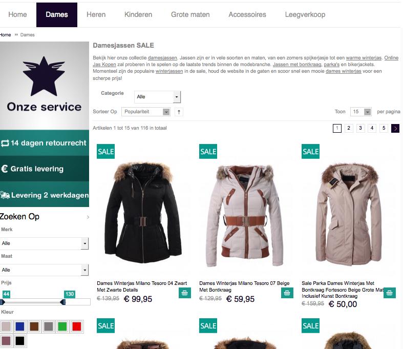 Magento voorbeeld implementatie Onlinejaskopen