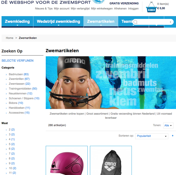 Magento voorbeeld implementatie Zwemmenenzo