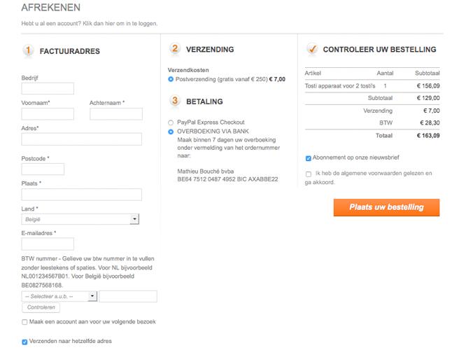 Magento voorbeeld implementatie Horecawebshop