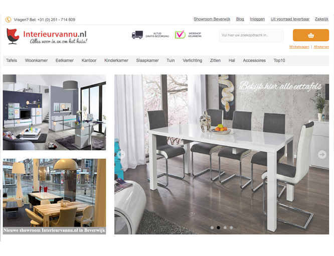 Magento webshop Interieurvannu homepagina