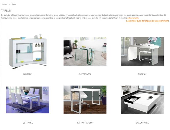 Magento webshop Interieurvannu catalogus