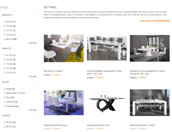 Magento webshop Interieurvannu catalogus