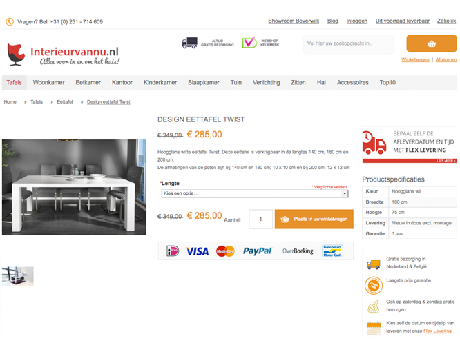 Magento webshop Interieurvannu productpagina