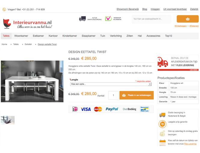 Magento webshop Interieurvannu productpagina