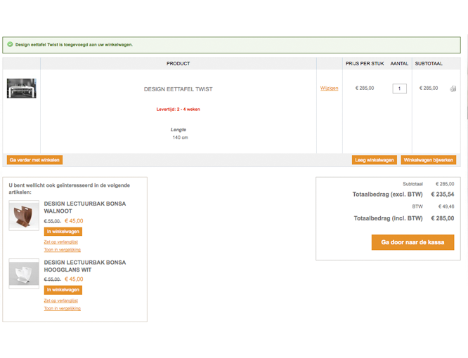 Magento webshop Interieurvannu winkelwagen