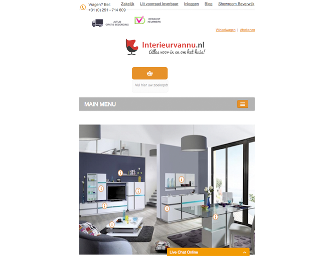 Magento webshop Interieurvannu responsive