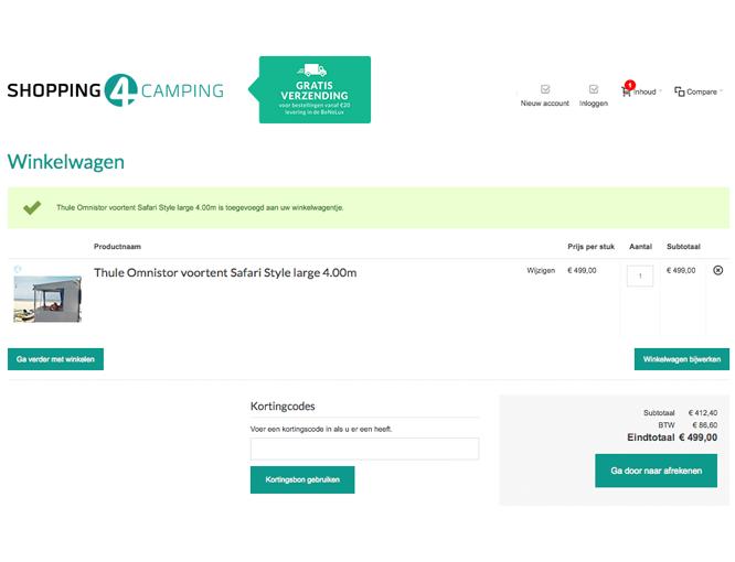 Magento voorbeeld implementatie Shopping4camping